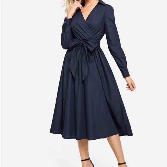 eedbb5b90a SHEIN Dresses   Nwt Self Belted Surplice Neck Dress   Poshmark